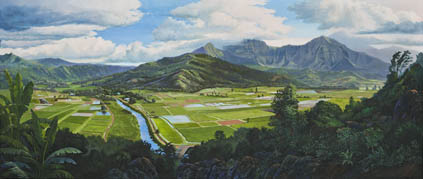 Hanalei Valley painting by Michael R. Nelson