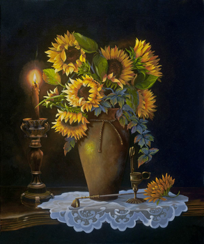 Sunflowers by Candlelight (Oil)